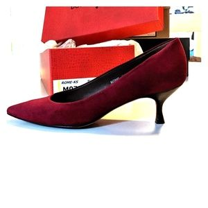 Donald J Pliner Rome Suede Low-Heel Pump, Burgundy